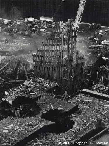 This image came from the  WTC Black and White Photos Collection from The Septemer 11 Digital Archives.  It is part of collection of 21 black-and-white photos to show the collapse of the World Trade Center Towers and the clean-up efforts.  The photos were taken by Steve Levine in October 2001.