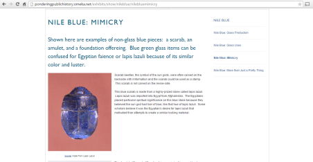 Screenshot of Nile Blue exhibit on Omeka.