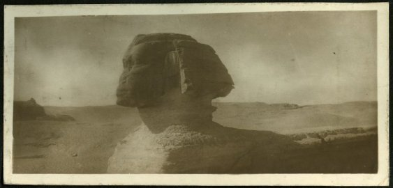 Black and white photograph of the Great Sphinx in Giza, Egypt. Photograph was likely taken by Noelle Ora Sandwith in the 1920s and is now held in the British Museum collections.  Museum Number: Oc,160.26